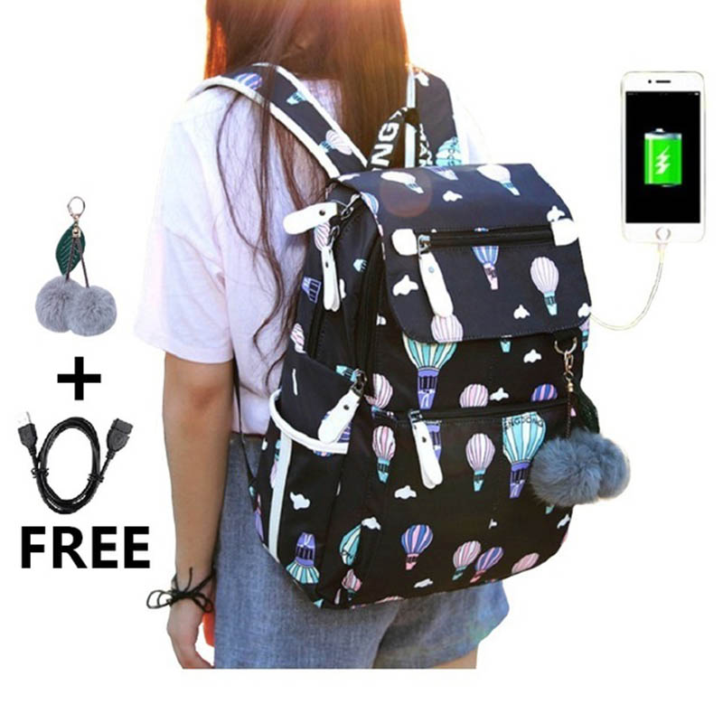 New Middle School Backpack With USB Charging Port School Bags For Girls Travel Bag Bookbag Plusch Ball Big Girl Schoolbag