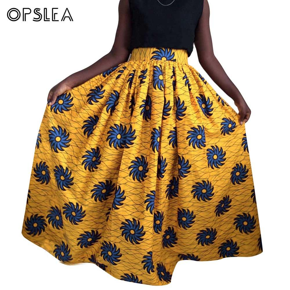 Opslea African Women Classic Ethnic Print Long Skirt Traditional Tribal Dashiki Fashion Casual Elastic Waist Loose Maxi Skirts formal wear