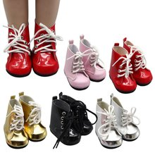 2018 Fashion Lace Up PU Martin Boots Shoes For 18 Inch Girls Dolls Toys For Children Baby Girl Gift Doll Accessories(China)
