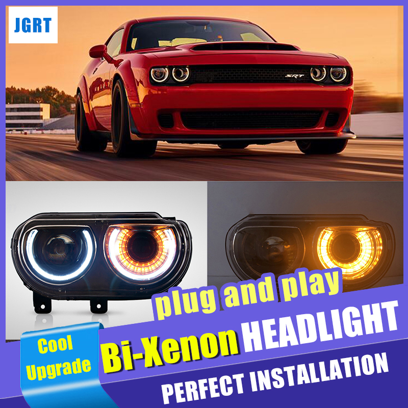 LED Halo Projector Head Lamp for 2009 2014 Dodge Challenger Headlight LED Angel Demon Eyes Dynamic