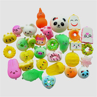 30pcs Squishy Cartoon Doll Soft Cream Scented Stress Relief Toy Key Squeeze Toys Cute Slow Rising