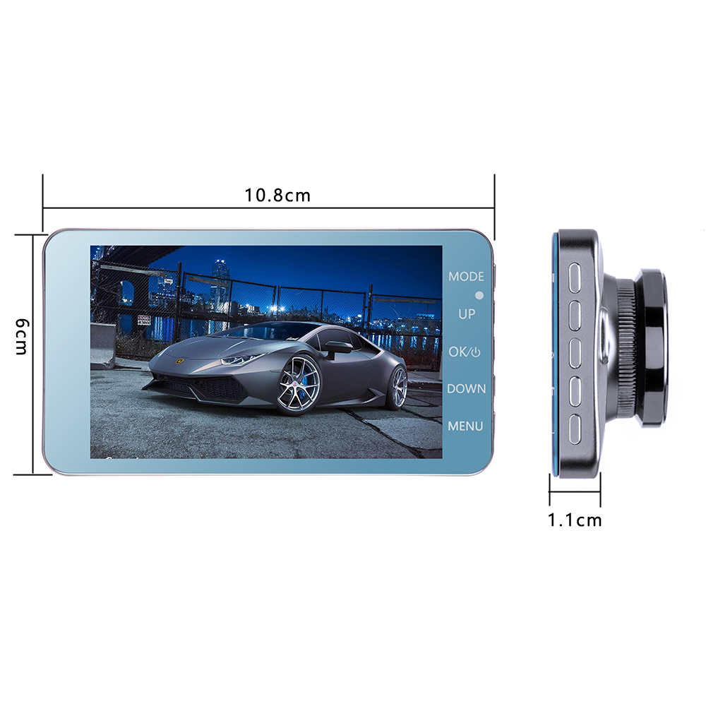 8Dash Cam New Dual Lens Car DVR Camera Full HD 1080P 4 IPS Front+Rear Mirror Night Vision Video Recorder Parking Monitor