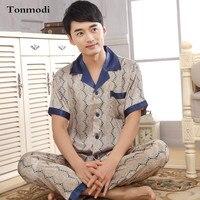 2016 New Mens Silk Pajamas Set Short Sleeve Trousers Sleepwear Silk Pyjamas Plus Size XXXL