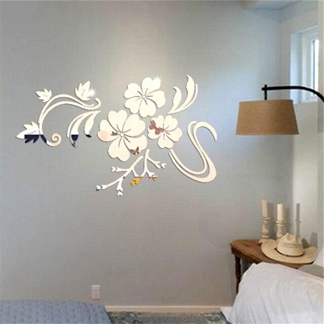 spiegel muurstickers acryl stereoscopische bloemen art muursticker woonkamer muurschildering vinyl slaapkamer muurstickers wholsale 20je1