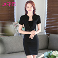 2016 spring and summer new Slim funnel collar skirt suit