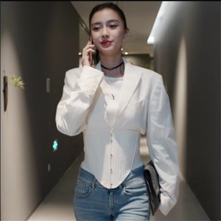 Had The Same Korean Version Of The White Waist Gun And The Fashion Short Women Long-Sleeved Suit Jacket 2019 Coat Women