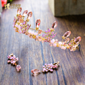 Gorgeous Crystal Crown Women rhinestone Tiara pink bridal hair accessories Festival diadem gifts Photography hairband xiahe