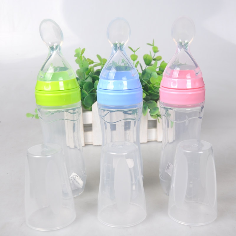 120ml Baby Bottle Toddler Leak-proof Food Dispensing Spoon Juice Cereal Feeding Bottle Spoon Food Supplement Rice Cereal Bottles