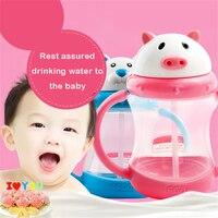 Alimentação Do Bebê Mamadeiras Drinkware Bottiglia Crianças Criativo Bonito Dos Desenhos Animados Garrafa de Água Portátil Garrafa De Água Com Palha QQB204