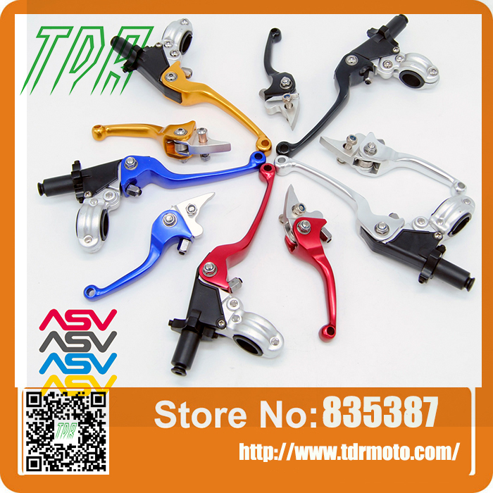 ФОТО Free Shipping Aluminum CNC ASV 2ND Folding Clutch And Brake Lever For Dirt Bike/Pit Bike Universal Spare Parts
