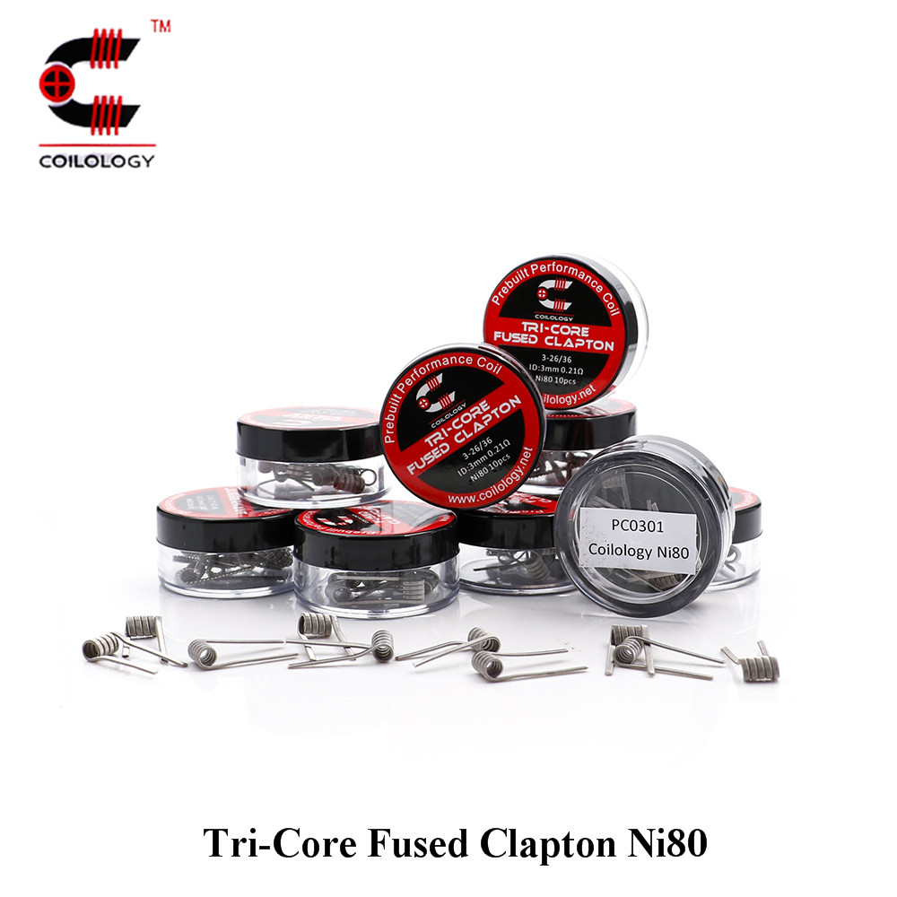 Electronic Cigarette Wire Coilology Tri-Core Fused Clapton Ni80 Newest EGO Coils For DIY Heating Wire RDA RBA RDTA Vape Tank