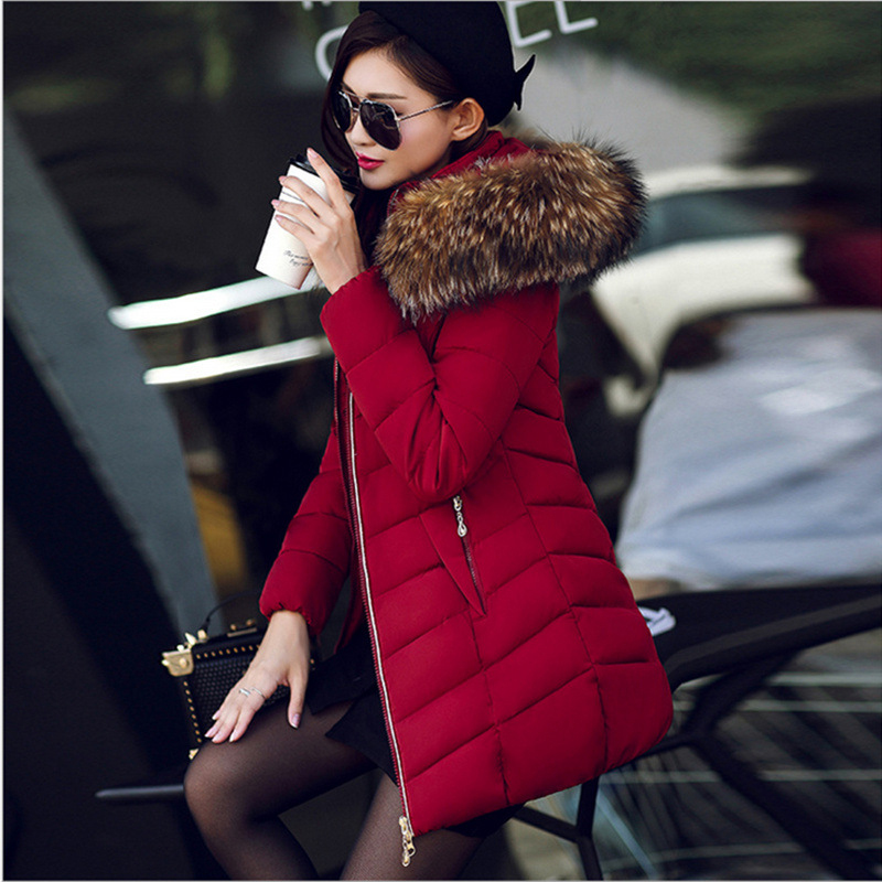 Hooded Jackets Slim Women Winter Fur Collar Coats Cotton Padded Mid-long Female Warm Black   Parkas   Plus Size 3XL Outwear KLD1273