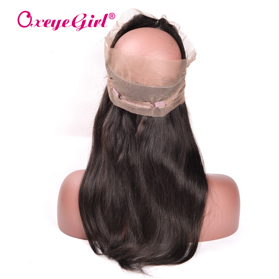 Oxeye girl Pre Plucked 360 Lace Frontal With Baby Hair Malaysian Straight Hair Bundles Remy Human