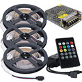 RGB LED Strip 5m 10m 15m Music Kit SMD 2835 12V Lamp Lighting With IR Music Controller+AC DC Converter For Xmas New Year Party