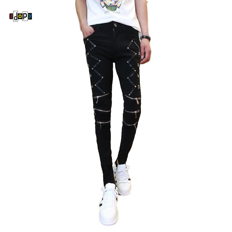 Idopy Fashion Slim Fit Pants Punk Style Black Patchwork Leather Zippers Dance Night Club Gothic Button Jeans Trouser For Men