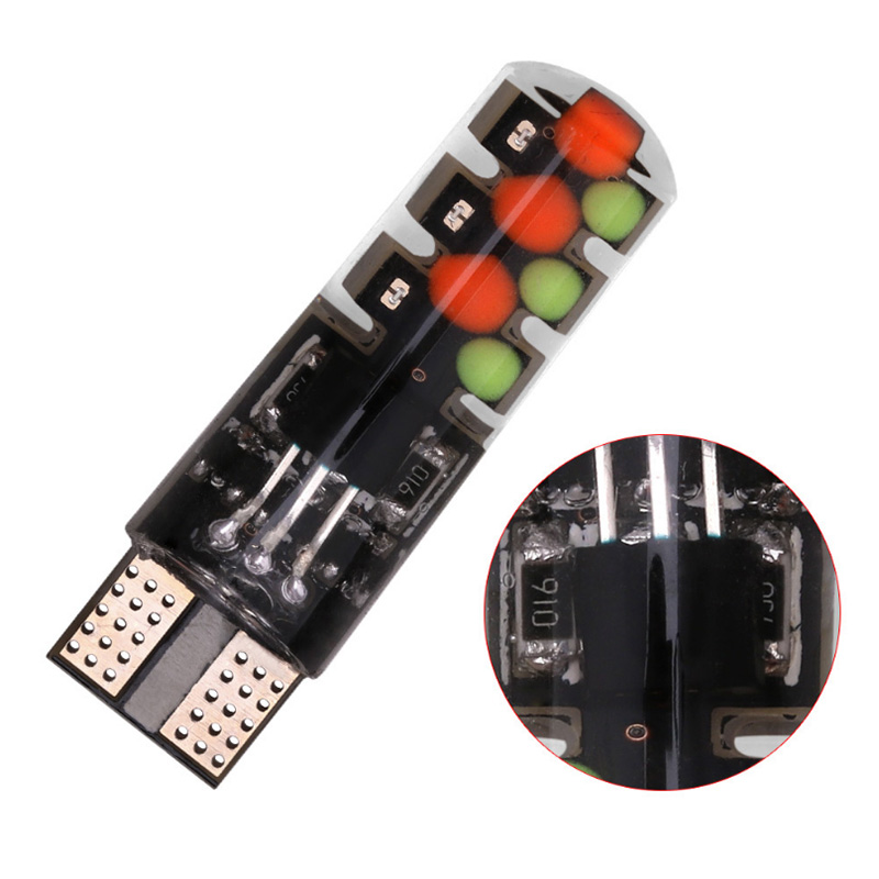 YOUEN Led W5W T10 RGB Clearance light New Universal Car RGB COB 12SMD Colorful Multi Mode Car Light Bulbs With Remote Controller in Signal Lamp from Automobiles Motorcycles