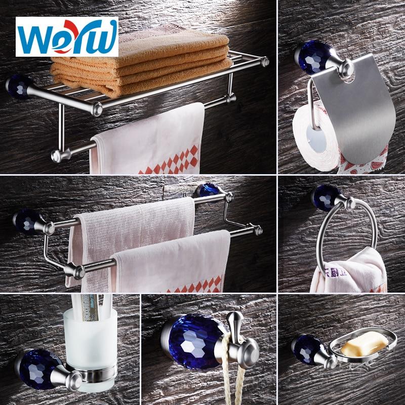WEYUU Blue Crystal Bathroom Accessories Towel Bars ,Soap Basket,Robe Hooks,Towel Ring Stainless Steel Bathrooms Hardware Sets ...