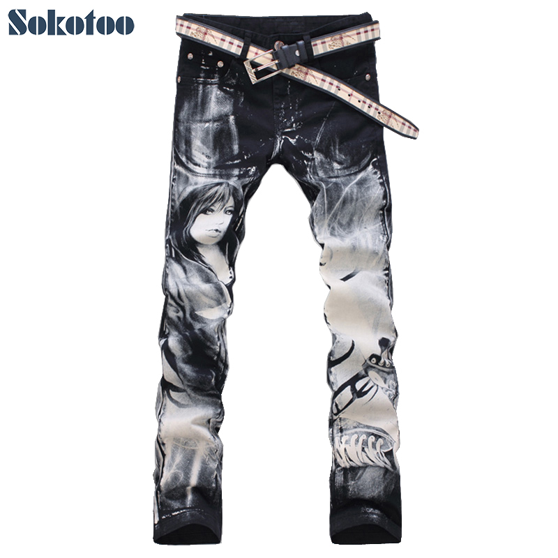 Sokotoo Men's Fashion Flower Pants Beauty Printed Jeans High Quality Print Pattern Slim Denim Trousers Free Shipping