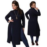 2018 الشتاء النساء اللباس زائد حجم النساء ملابس طويلة الأكمام عالية شق t قميص اللباس فستان ماكسي القمم 6xl بسيطة كبيرة vestidos