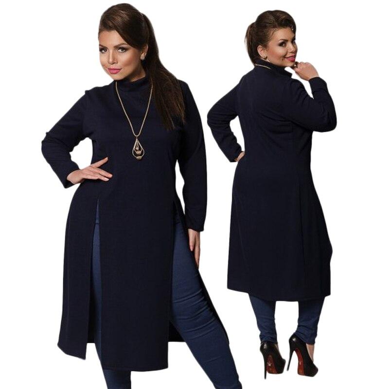 2018 Hiver Femmes Robe Plus La Taille Des Vêtements Pour Femmes À Manches Longues Haute fente t-shirt Robe Maxi Tops 6XL Simple Robe Grand Robes