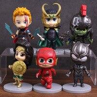 Super Heroes Wonder Woman Hulk Black Panther Loki Flash Thor PVC Figures Toys 6pcs Set