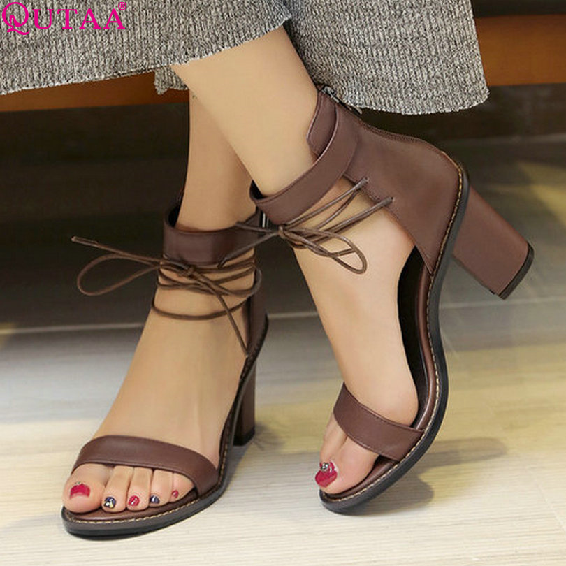 QUTAA 2017 Women Sandal Square High Heel Summer Zipper Brown Women Shoes Genuine Leather Ladies Wedding Shoes Size 34-39