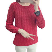 2017 Autumn New Fashion Knitted Sweater Long Sleeve O-neck Solid Women Sweaters and Pullovers All-match Sudaderas 6 Multi Colors