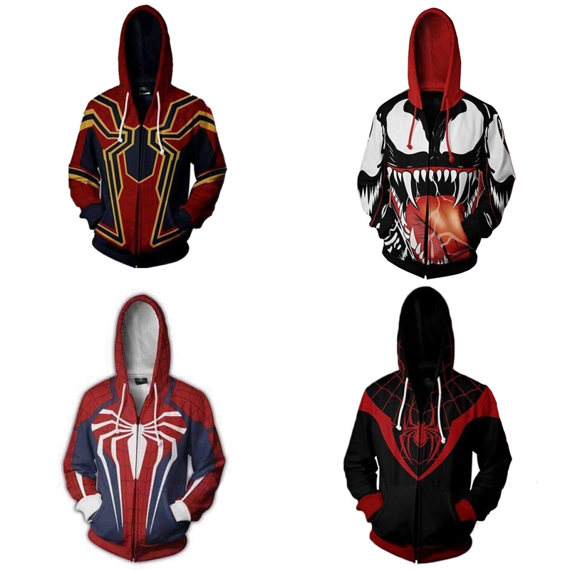 Spiderman Cosplay Costume Hoodie Venom Spider Man Avengers PS4 Sweatshirt Jacket S-3XL