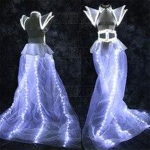 Новый Дизайн подсветкой Sexy Lady Одежда Освещение до вечернее платье LED дефиле сцены Для женщин костюм