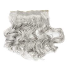 This Years New Hair Color Trend - Silver Gray Curly Clip in extensions Grandma Hairpieces