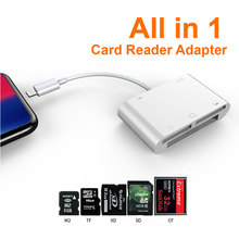 цены на Card Reader Leadzoe Lightning 6 in 1 SD/TF/Micro SD/CF/XD/M2 Memory Smart Card Reader With 1 Lightning Charging Port Adapter  в интернет-магазинах