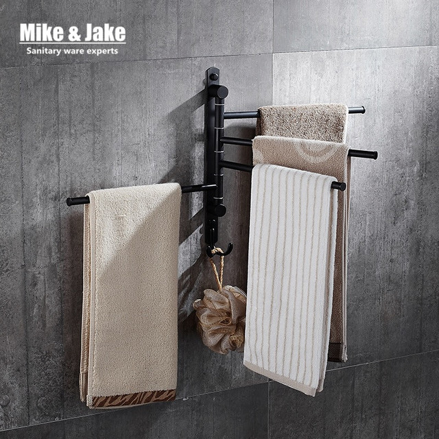 Zwart beweegbare badhanddoek rack 2 3 4 handdoek bars badkamer zwart ...