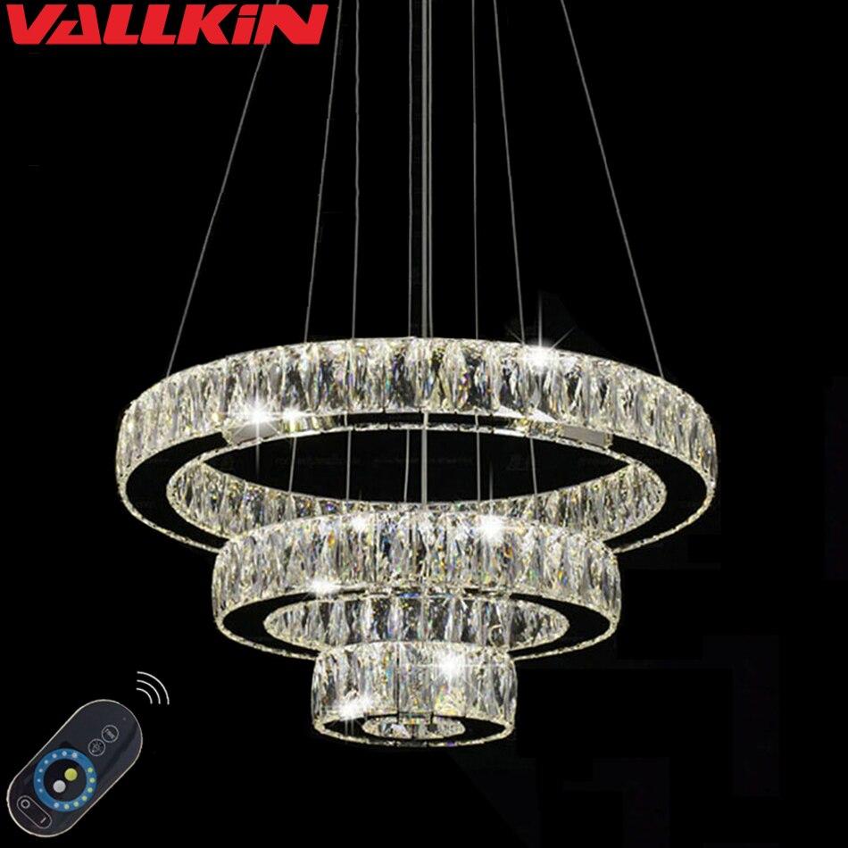 Décoratifs pour la maison Éclairage LED Pendentif En Cristal Lampe Dimmable Intérieur Lampes Lustres Moderne Luminaires avec Télécommande
