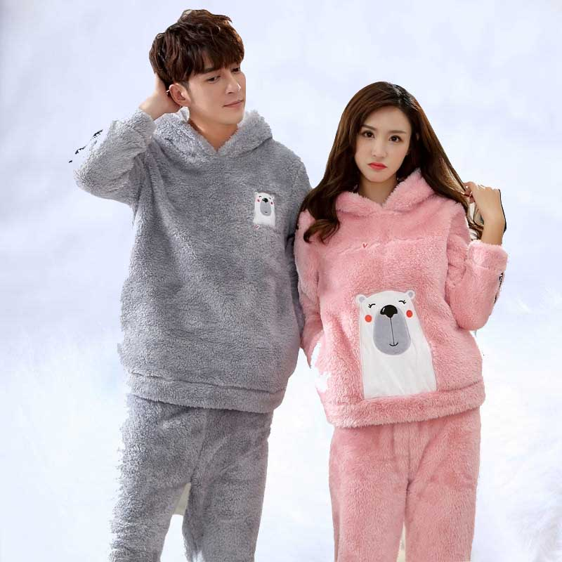Winter Pajamas Men Cute Cartoon Cosplay Sleepwear Couples Hooded Thick Warm Flannel Pajama Sets For Women Long Sleeve Velvet