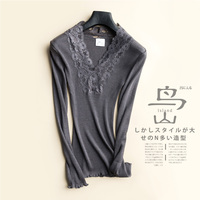 70% Nature Silk+30% Cotton Women Sexy Lace T shirt V Neck Collars Knitted Nature Long Sleeved High Elastic Bottoming Shirt Tops