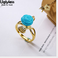 Uglyless 100% Real 925 Sterling Silver Natural Turquoise Lotus Finger Rings for Women Ethnic Bohemia Open Ring Gold Plated Jewel
