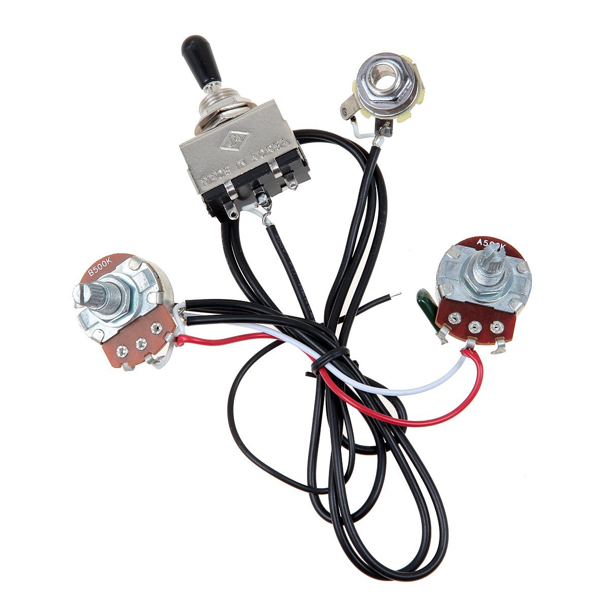 Guitar Wiring Harness Prewired Two Pickup 500k Pots 3 Way Toggle A Switch Silver In Parts Accessories From Sports Entertainment On