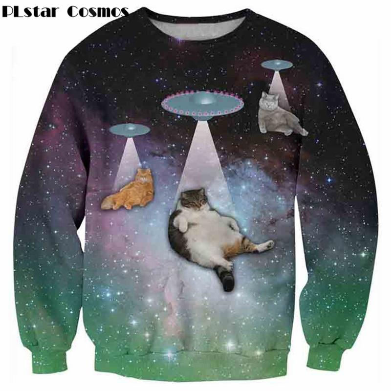 PLstar Cosmos Alpaca Elephant Shark Galaxy Cats Kittens cpeepy unicorn Crewneck Sweatshirt Tiger Jumper Women Men Outfits Sweats