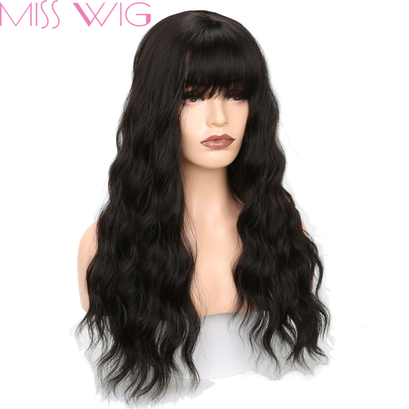MISS WIG Long Wavy Wigs for Black Women African American Synthetic Grey Brown Wigs with Bangs Heat Resistant +