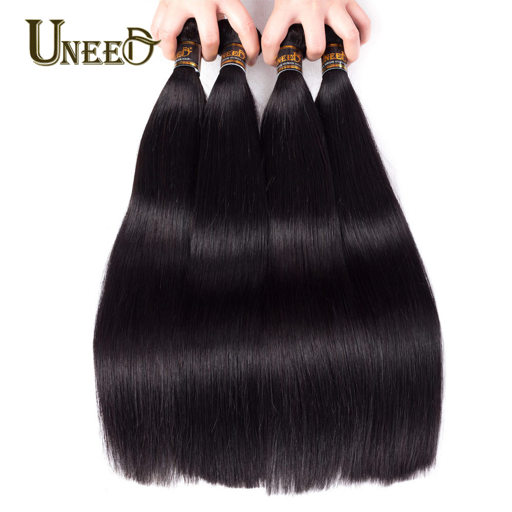 Uneed Hair Malaysian Straight Hair 4 Bundles 100% Human Hair Weave Bundles Remy Hair Extensions Natural Black Color 8-28 Inch