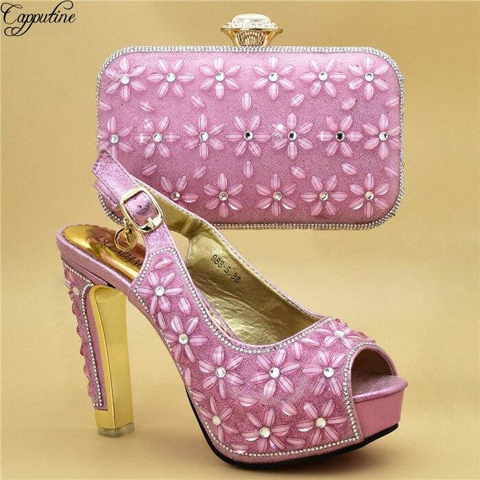 81b9dcfa42 Sapatos Senhora Incrível A E Bolsa 988 Pedras Salto Alto Noite De Para Rosa  5 Sandálias Com Bonita mn0wvN8