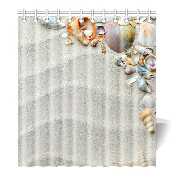Shower Curtain Beach Ocean Seashell Conch Starfish Printing Waterproof Mildewproof Polyester Fabric Bath Bathroom