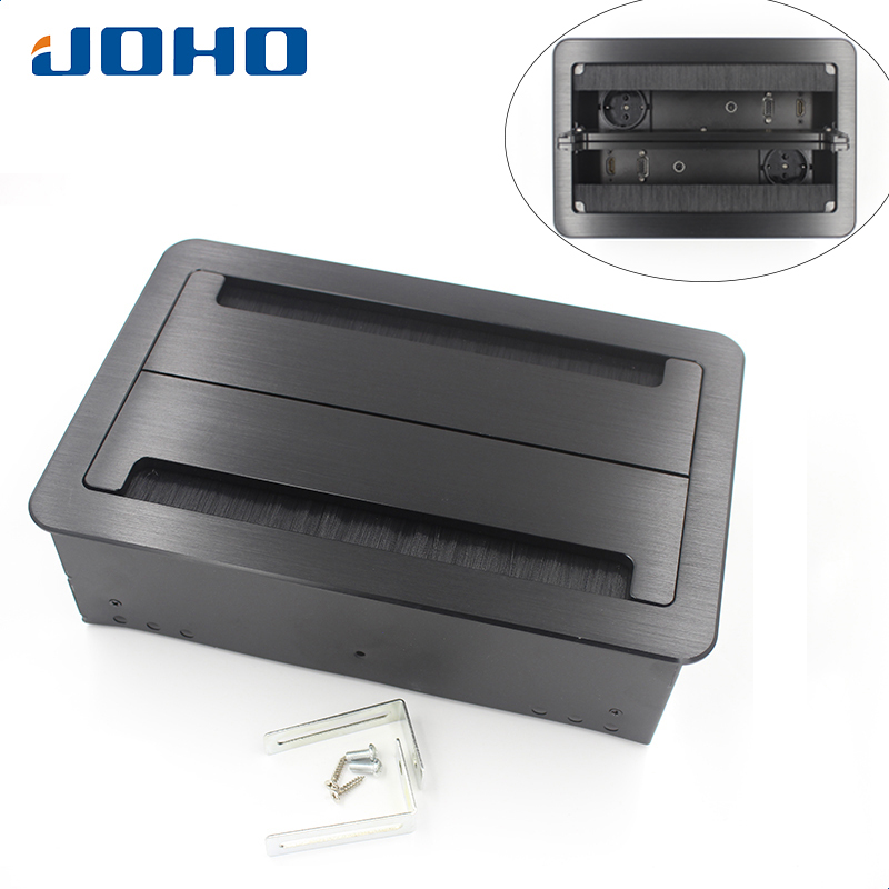 JOHO Desktop Socket Aluminum Black Silver Panel EU Standard Open Type Table Socket Electrical Outlet With VGA HDMI Audio Port