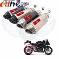 Para yamaha fazer fz6 fz1 fz8 fz1000 fz3 mt07 mt09 nova Chegada Cabeça de Fibra de Carbono Tubo de Escape Da Motocicleta Modificado Silenciador 51mm