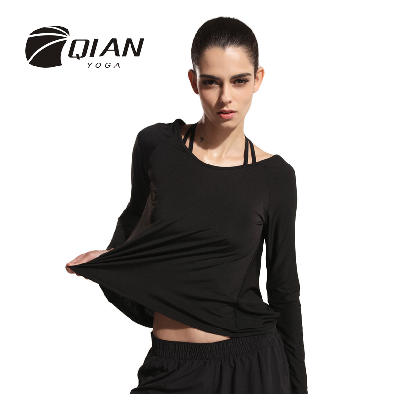 QIAN YOGA Long Sleeve Yoga Shirts Tops Quick Dry