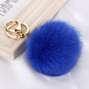 8CM Cute violet mint green pink Genuine Leather Rabbit fur ball keychain Car key ring Bag Pendant fur pom pom keychain(China)