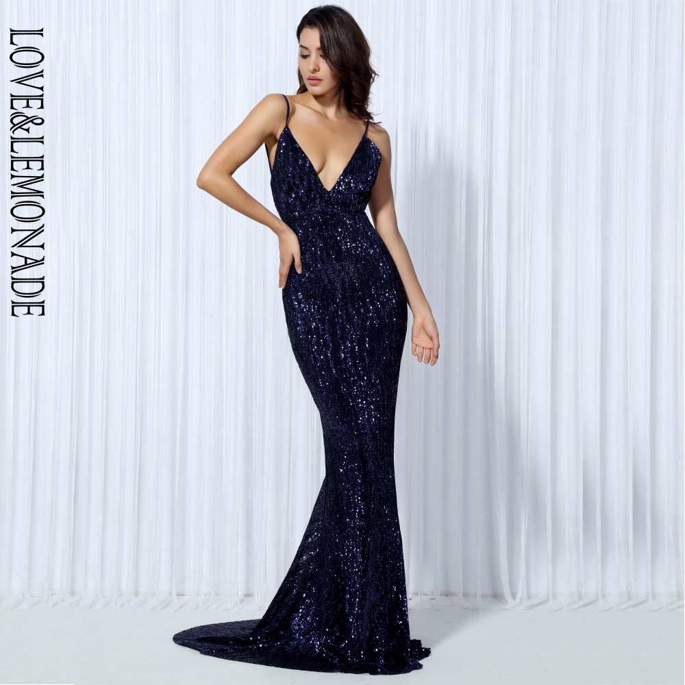 Love&Lemonade .  Elastic Sequin V Collar Exposed Back Long Dress NAVY/SILVER/PINK/BLACK/RED/Champagne LM80119-in Dresses from Women's Clothing