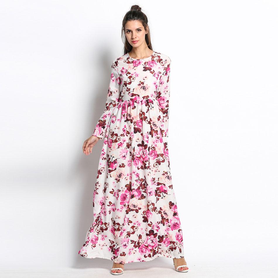 Summer Floral Long Sleeve Maxi Dresses