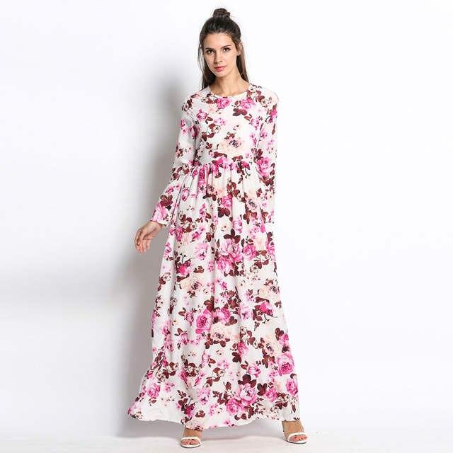 97c3c25c436 FANALA Women Summer spring Maxi Dress O-neck long Sleeve Floral Print Party  Elegant Long