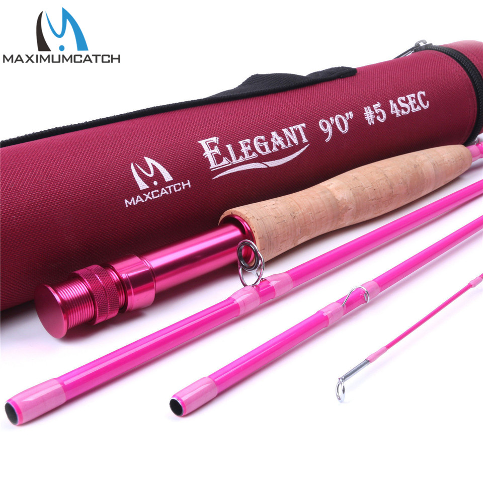 Maximumcatch 2/5WT 6.5/9FT Pink Fly Rod 4Pieces 30T Carbon Fiber Medium-Fast Fly Fishing Rod For Ladies goture bluewater series fly fishing rod 2 7m 30t carbon fiber fly rod m mf action 5wt 6wt 7wt 8wt for trout bass